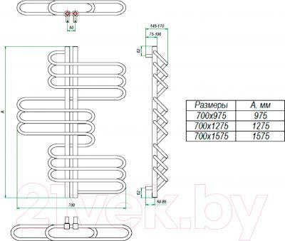 Полотенцесушитель водяной Grota Rio 127.5x70 - схема