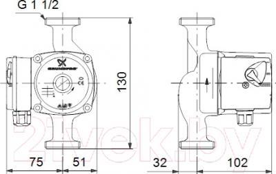 Циркуляционный насос Grundfos UPS 25-60 130 (96281476)