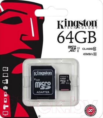 Карта памяти Kingston microSDXC UHS-I Class 10 64GB + адаптер (SDC10G2/64GB)