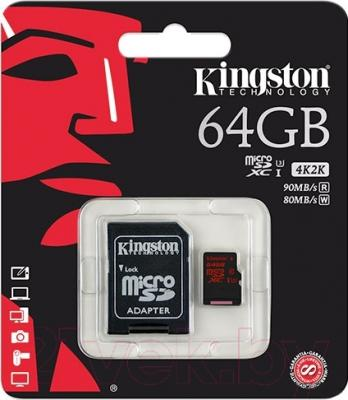 Карта памяти Kingston microSDXC UHS-I U3 Class 10 64GB (SDCA3/64GB)