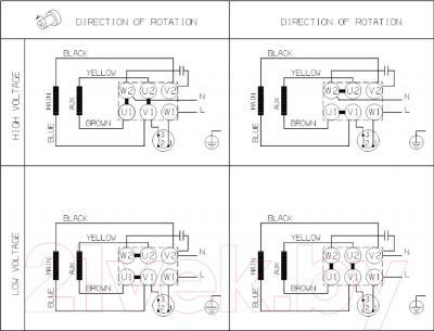 Бытовой насос Grundfos TP 32-250/2 (96086662) - схема подключений