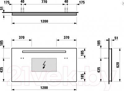 Зеркало для ванной Laufen Case 120x62 (4472619961441) - технический чертеж