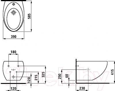 Биде подвесное Laufen Alessi One (8309714003041) - технический чертеж