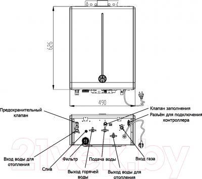 Газовый котел Daewoo DGB-100MSC - технический чертеж