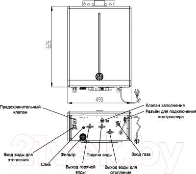 Газовый котел Daewoo DGB-160MSC - технический чертеж