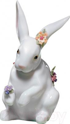 """Статуэтка Lladro Animales """"Сидящий кролик"""" (с цветами)"""