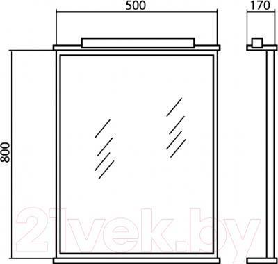 Зеркало для ванной Аква Родос Декор 50 - размеры