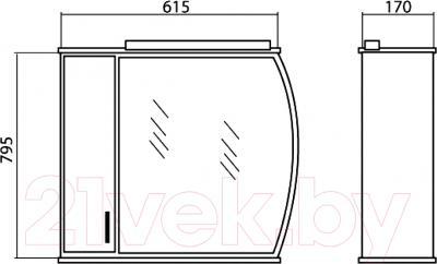 Шкаф с зеркалом для ванной Аква Родос Декор 65 L - размеры