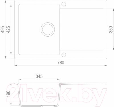 Мойка кухонная Teka Clivo 45 B-TQ / 40148002 (топаз)