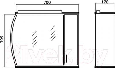 Шкаф с зеркалом для ванной Аква Родос Декор 70 R - размеры