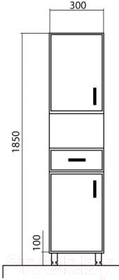 Шкаф-пенал для ванной Аква Родос Декор 35 R