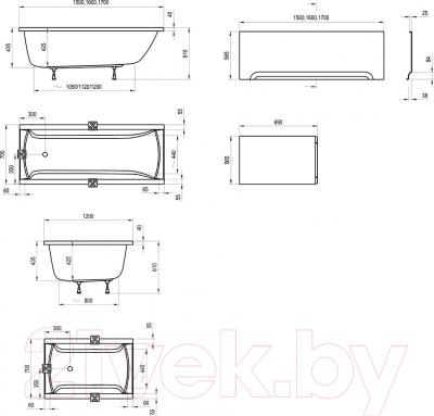 Ванна акриловая Ravak Classic 150x70 N (C521000000) - схема