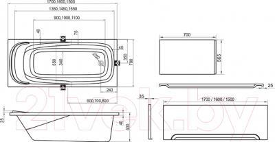 Ванна акриловая Ravak Vanda II 150x70 (CO11000000) - схема