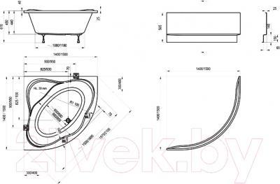 Ванна акриловая Ravak New Day 150x150 (C661000000) - схема