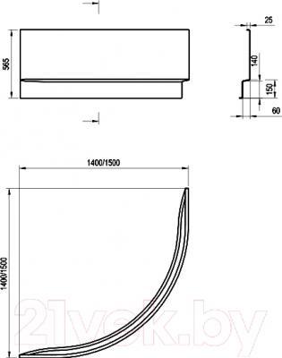 Экран для ванны Ravak 150 (CZG1000AN0) - технический чертеж