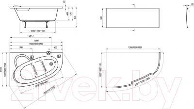 Ванна акриловая Ravak Asymmetric 170x110 R (C491000000) - схема