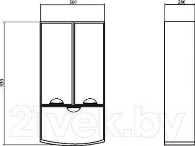 Шкаф-полупенал для ванной Аква Родос Глория (05T2) - размеры