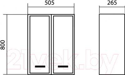 Шкаф-полупенал для ванной Аква Родос Декор 50 - размеры