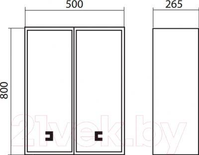 Шкаф-полупенал для ванной Аква Родос Мобис 50 - размеры