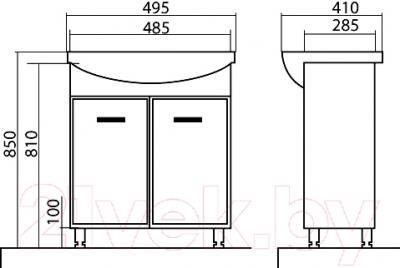 Тумба с умывальником Аква Родос Декор 50 - размеры