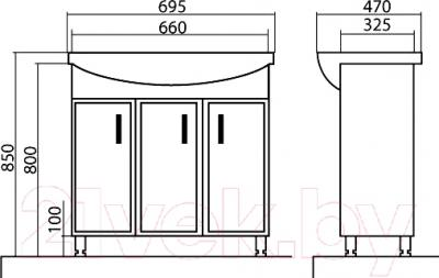 Тумба с умывальником Аква Родос Декор 70 - размеры
