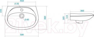 Умывальник настенный Santek Бриз 50 (WH110451) - схема