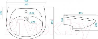 Умывальник Santek Бриз 60 (WH110466) - схема