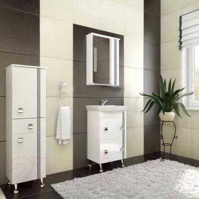 Шкаф с зеркалом для ванной Ванланд Квадро 2-70 (черный) - в интерьере
