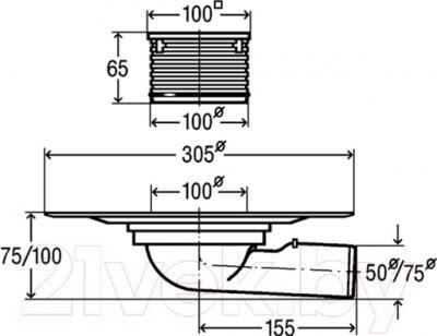 Трап для душа Viega 557072 - технический чертеж