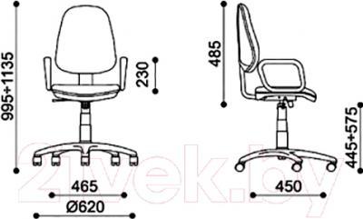 Кресло офисное Новый Стиль Zeus GTP (серый/С-38/нейлон) - размеры