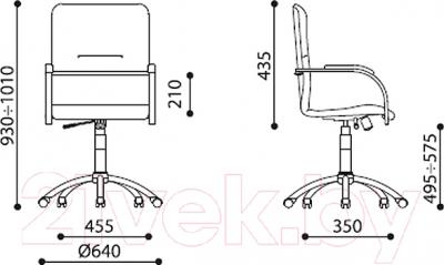 Кресло офисное Новый Стиль Samba GTP S (V-18, бежевый/металл) - размеры