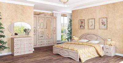 Двуспальная кровать Мебель-Неман Василиса К1-160 (дуб беленый/патина) - в интерьере