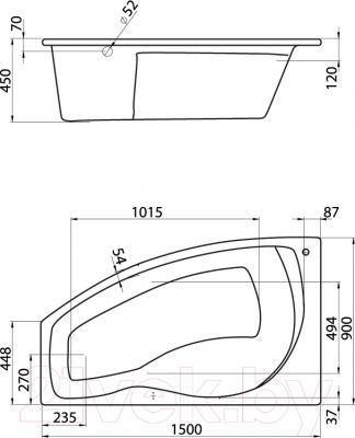 Ванна акриловая Santek Майорка 150x90 L (WH111984)