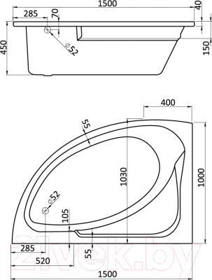 Ванна акриловая Santek Гоа 150x100 L (WH112033)
