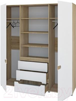Шкаф Мебель-Неман Леонардо МН-026-09 (белый полуглянец/дуб Сонома) - в открытом виде
