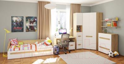Шкаф Мебель-Неман Леонардо МН-026-11 (белый полуглянец/дуб Сонома) - в интерьере