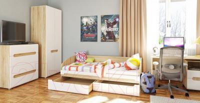 Шкаф Мебель-Неман Леонардо МН-026-22 (белый полуглянец/дуб Сонома) - в интерьере
