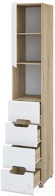 Шкаф-пенал Мебель-Неман Леонардо МН-026-20 (белый полуглянец/дуб Сонома) - в открытом виде