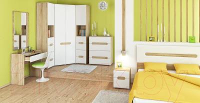 Двуспальная кровать Мебель-Неман Леонардо МН-026-10 (белый полуглянец/дуб Сонома)