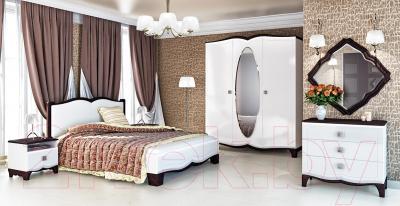 Двуспальная кровать Мебель-Неман Тиффани МН-122-01 (белый полуглянец/венге)