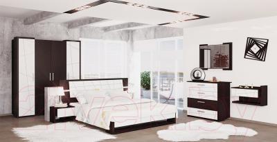 Двуспальная кровать Мебель-Неман Барселона МН-115-01 (белый глянец/дуб Ниагара)