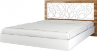 Двуспальная кровать Неман Лотос МН-116-01 (белый глянец/груша глянец) -