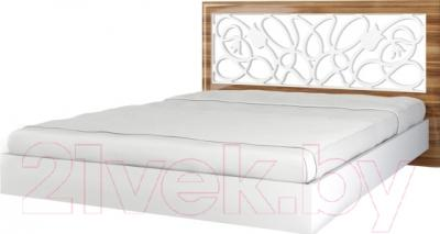 Двуспальная кровать Мебель-Неман Лотос МН-116-01 (белый глянец/груша глянец)
