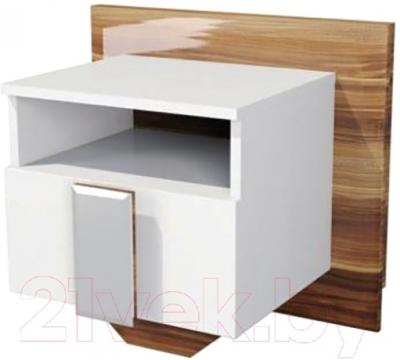 Прикроватная тумба Мебель-Неман Лотос МН-116-02 (белый глянец/груша глянец)
