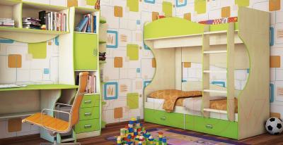 Двухъярусная кровать Мебель-Неман Комби МН-211-06 (береза/лайм)
