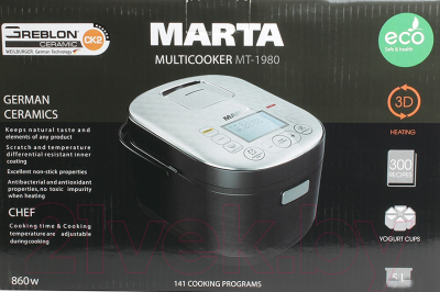 Мультиварка Marta MT-1980 (красный) - коробка