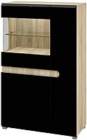 Шкаф Мебель-Неман Леонардо МН-026-03 (черный полуглянец/дуб Сонома) -