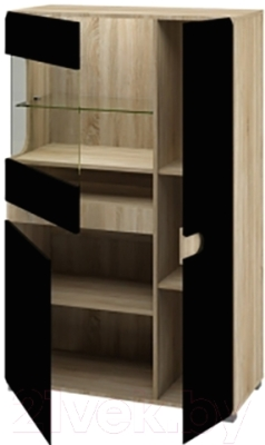 Шкаф Мебель-Неман Леонардо МН-026-03 (черный полуглянец/дуб Сонома)