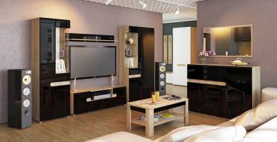 Журнальный столик Мебель-Неман Леонардо МН-221-01 (черный полуглянец/дуб Сонома) - в интерьере