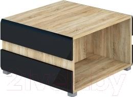 Журнальный столик Мебель-Неман Леонардо МН-026-04 (черный полуглянец/дуб Сонома)